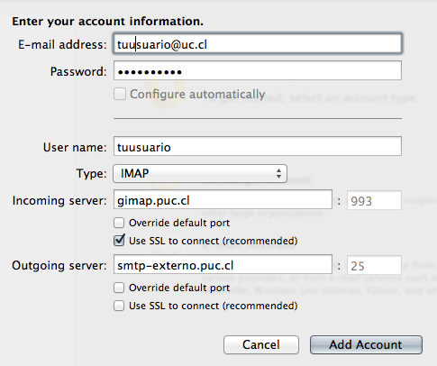 Configurar Gmail UC en Outlook 2011 para Mac