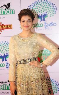 Actress Kajal Aggarwal Pictures in Designer Evening Dress at Memu Saitam Dinner with Stars Red Carpet  5)