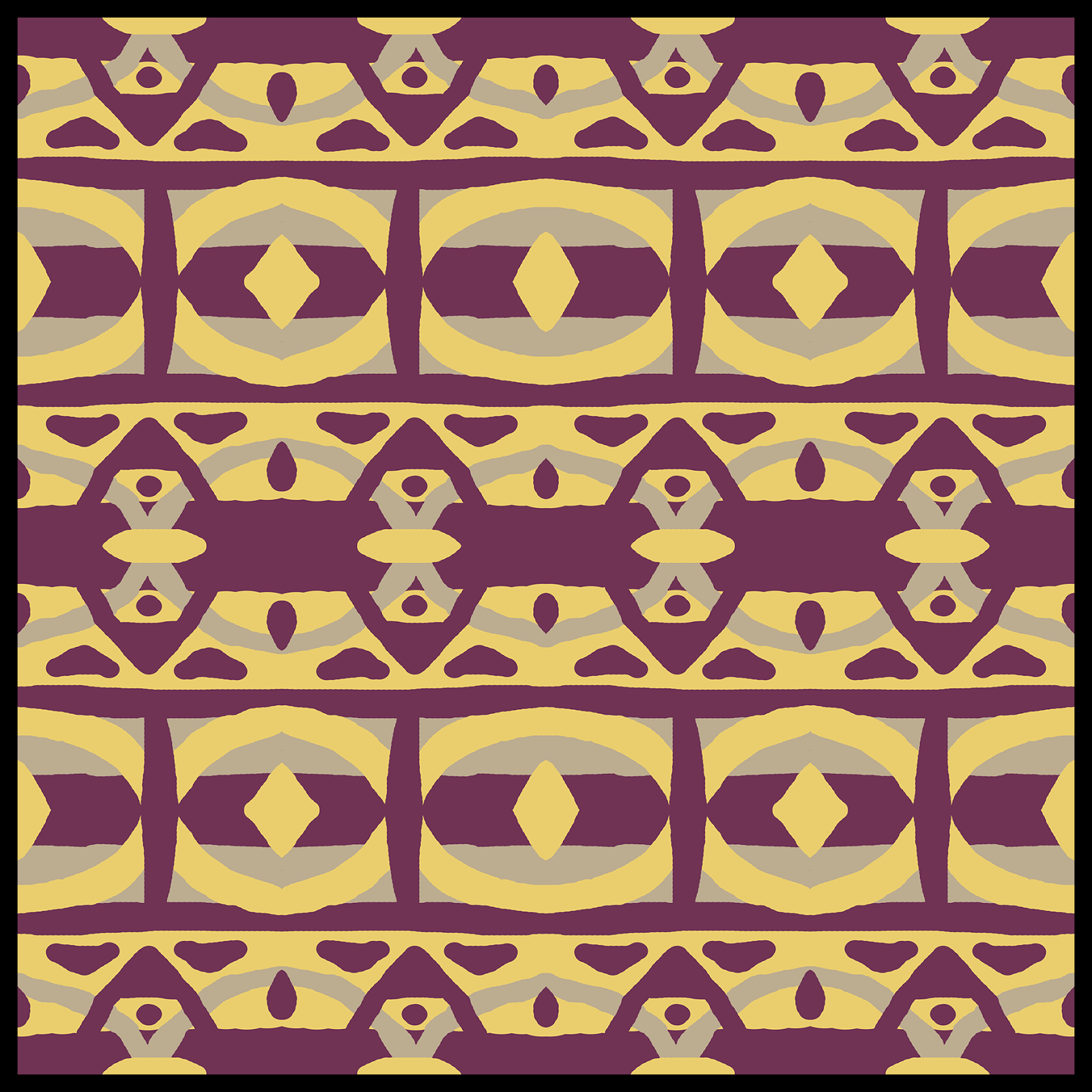 Moroccan style abstract digital art in purple, grey and yellow.