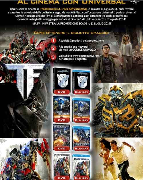 biglietti cinema transformers 4