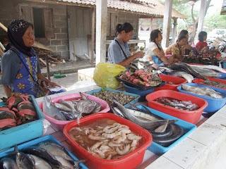 Berbagai jenis ikan, udang, dll di Tempat Pelelangan Ikan (TPI) Depok