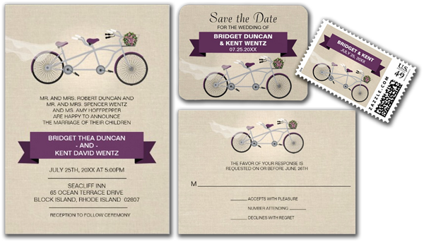 Faux Linen Plum Tandem Bicycle Wedding Invitation