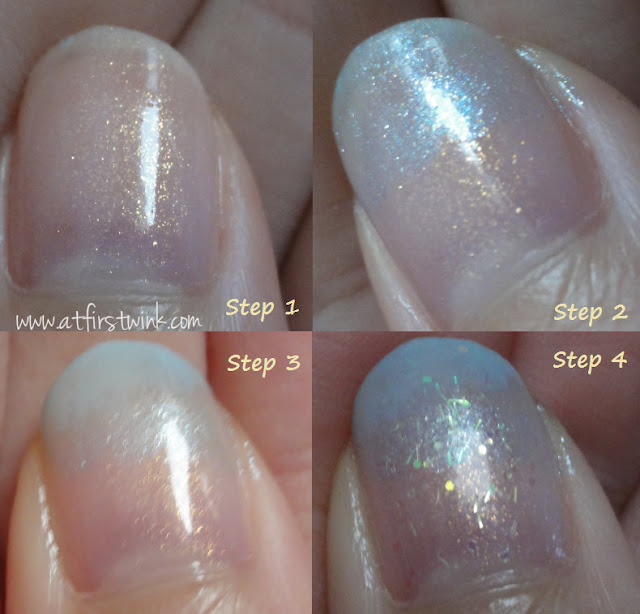 How to make Fairy blue and shimmery pink gradation nails