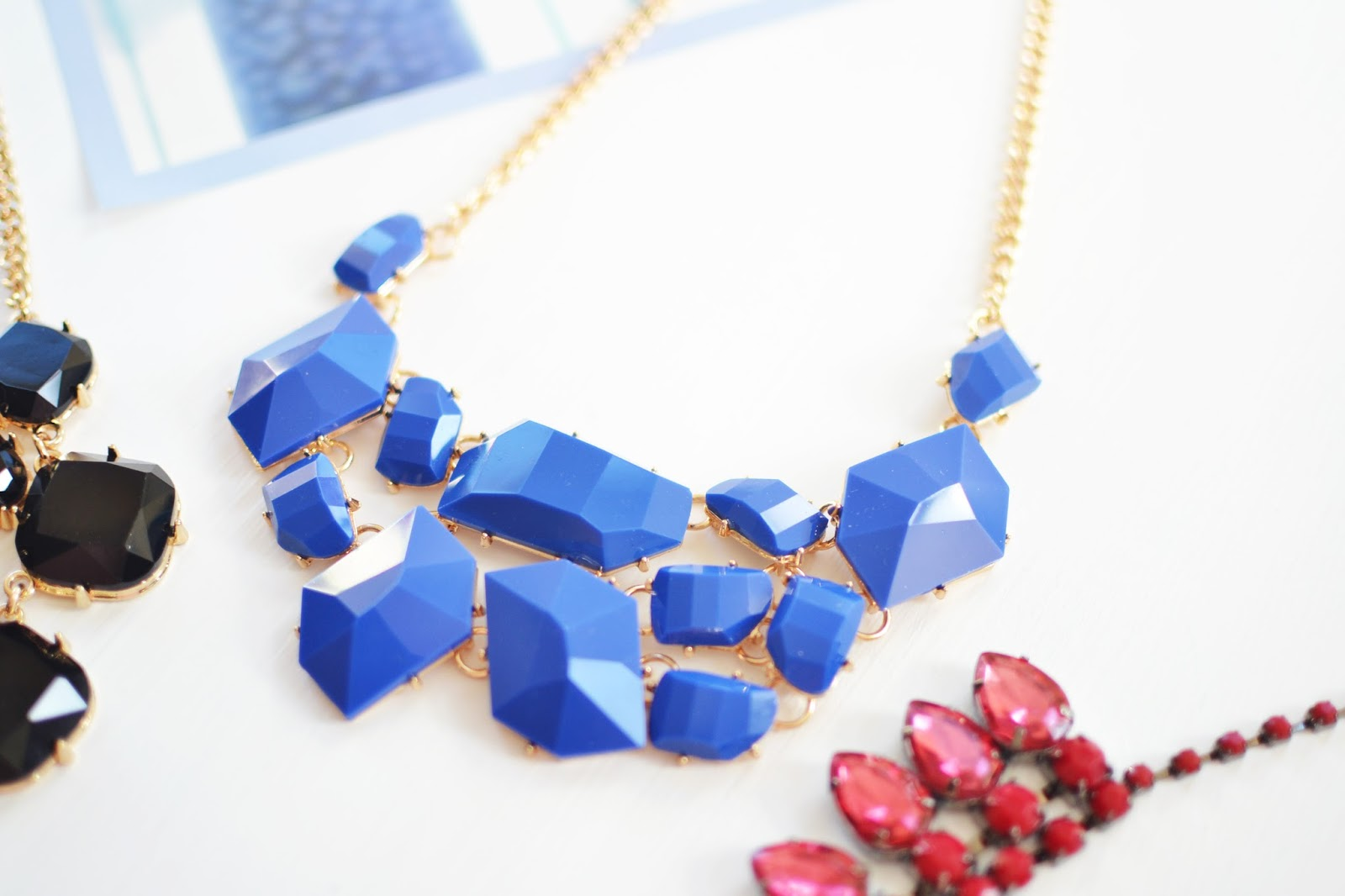 blue necklace, lidl fashion range, affordable statement necklace, statement necklaces