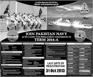Join Pakistan Navy as PN Cadet for permanent commission in Term 2014-A