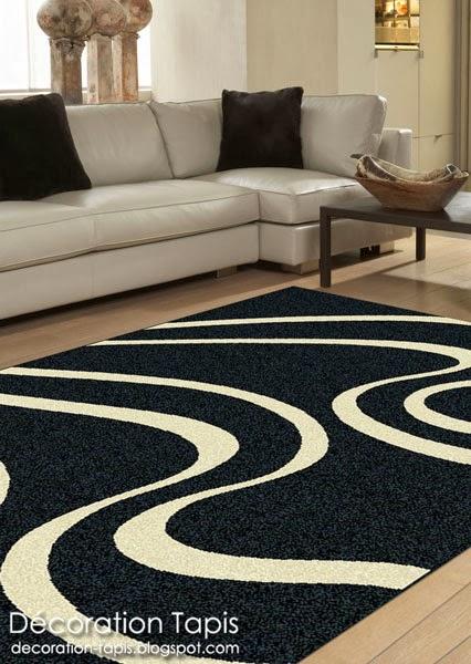 Tapis design noir et beige ondine d coration tapis - Tapis noir et blanc design ...