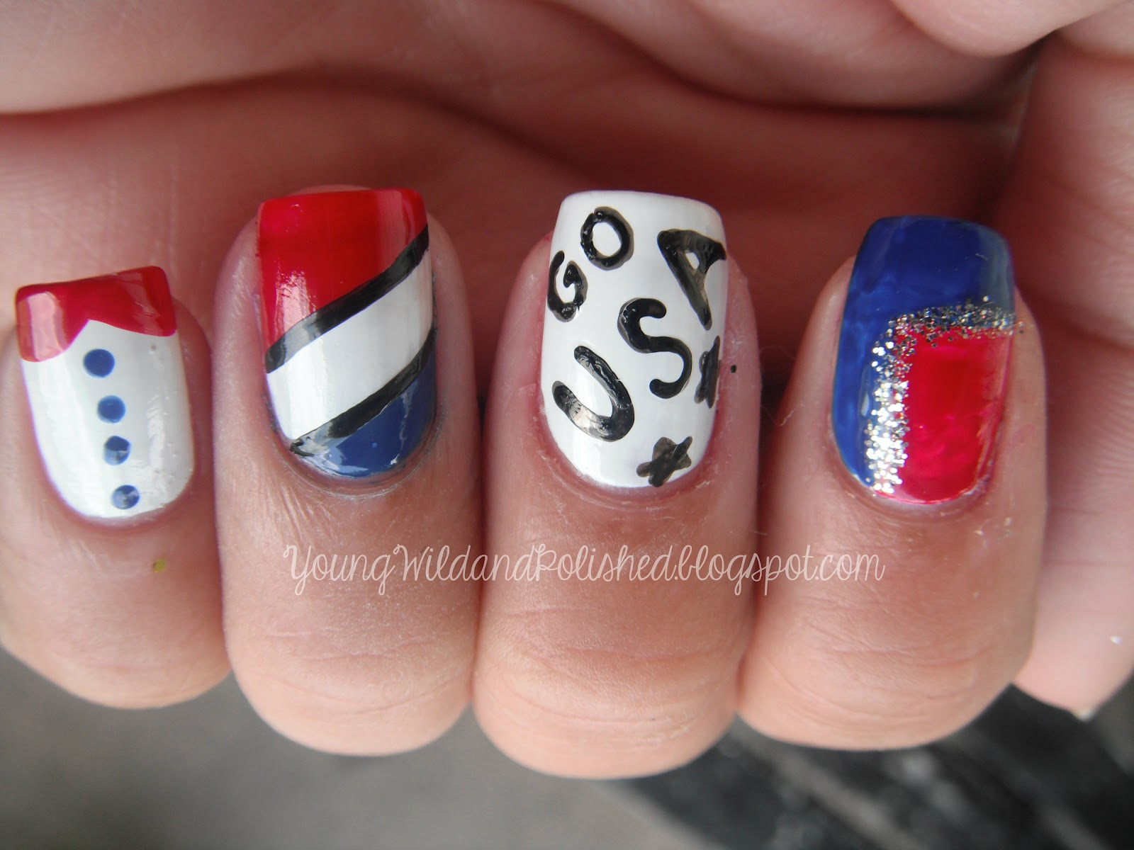 The Black Around Ring Finger Design And Go USA Was Done With A Sally Hansen Nail Art Pen