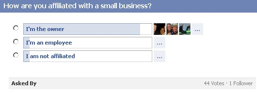 GotPrint Facebook question/poll - how are you affiliated with a small business?