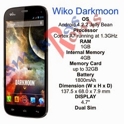 Wiko Darkmoon specs and stock rom download
