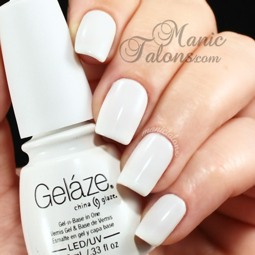 Gelaze White on White Swatch, Gel Polish, Soak Off Gel, White Gel Polish