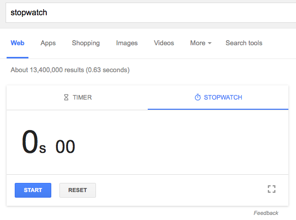 google s timer and stopwatch card