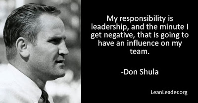 My responsibility is leadership, and the minute I get negative, that is going to have an influence on my team.