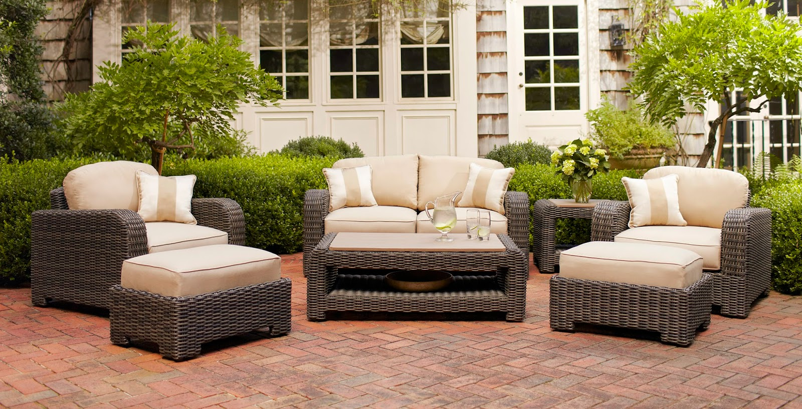 the northshore collection of outdoor lounge seating blends contemporary style with unique texture each piece is made with a weather resistant wicker which brown jordan northshore patio furniture