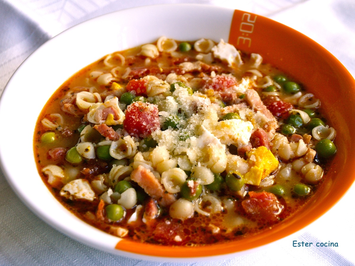 Ester cocina menestra de guisantes y pasta for Cocinar guisantes congelados