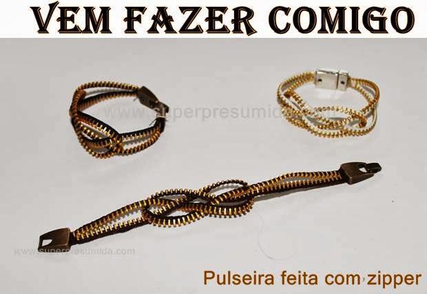 Vem fazer comigo: Pulseira feita com zipper