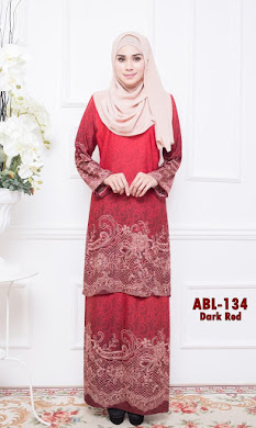 BAJU KURUNG PAHANG ADORIA BERIL LACE COLLECTION (ABL) – DARK RED