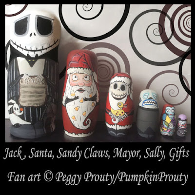 The Oogie Boogie Figure Is Biggest In Order To Hold All Rest Of Dolls Jack And Sally Are Followed By A Progressively Smaller Santa Claus