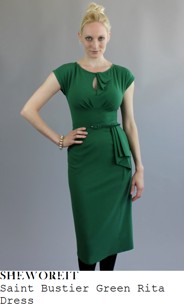 holly-willoughby-green-cap-sleeve-pencil-dress-this-morning