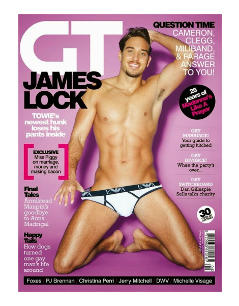 Towie's James Lock is Naked in Gay Times Mag