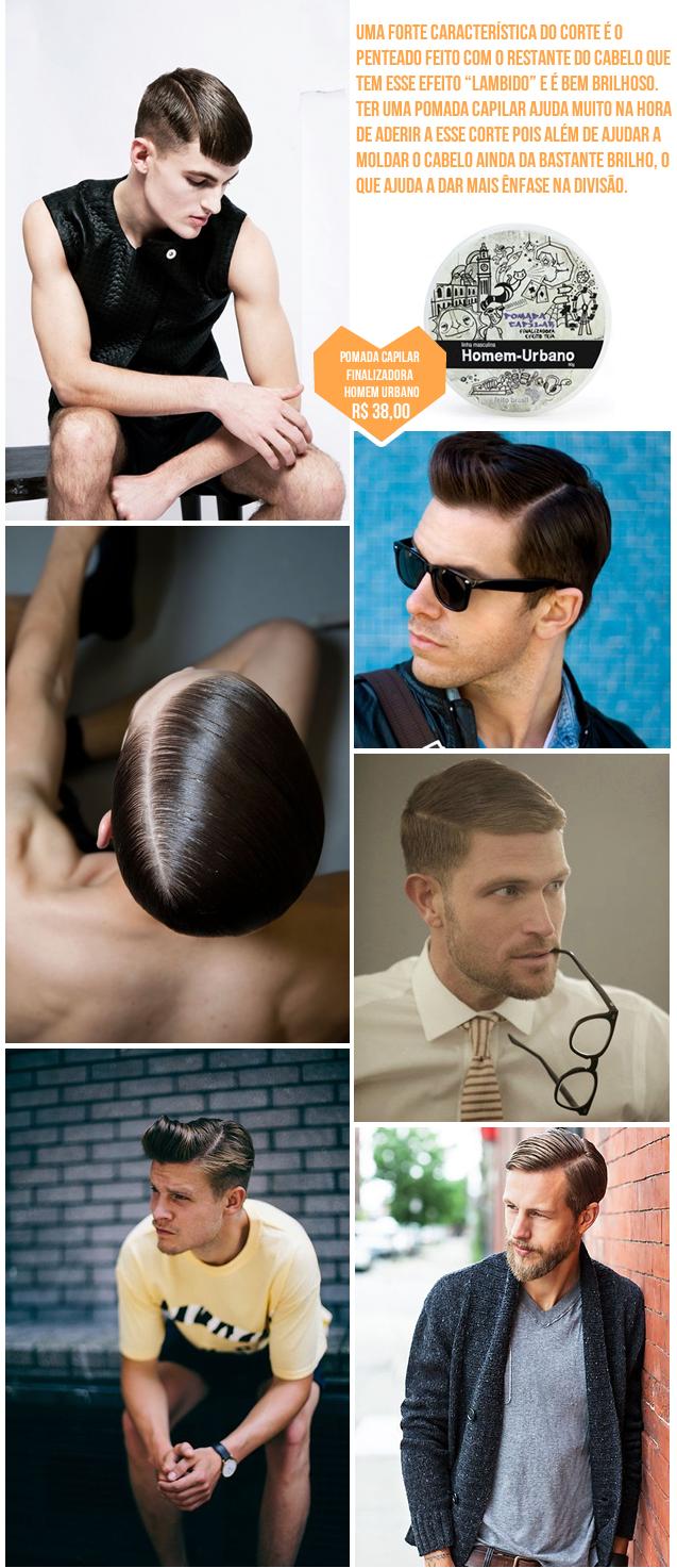"""Uma forte característica do corte é o penteado feito com o restante do cabelo que   tem esse efeito """"lambido"""" e é bem brilhoso. Ter uma pomada capilar ajuda muito na hora de aderir a esse corte pois além de ajudar a moldar o cabelo ainda da bastante brilho, o que ajuda a dar mais ênfase na divisão."""