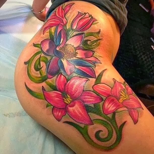 Βouquet of hibiscus flowers tattoo  By Roman Kuznetsov