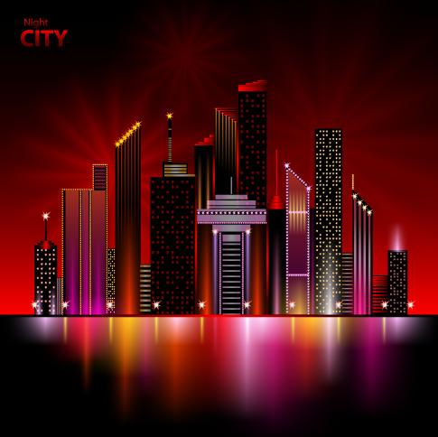 gran ciudad nocturna - vector
