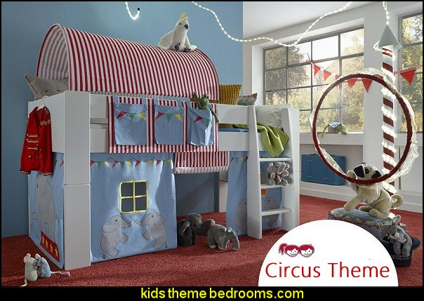 Midsleeper cabin bed with Circus themed tunnel, tent and pocket package