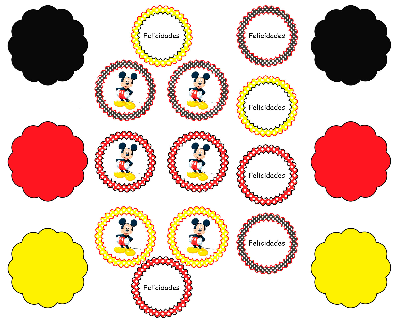 Etiquetas para fiesta de Mickey