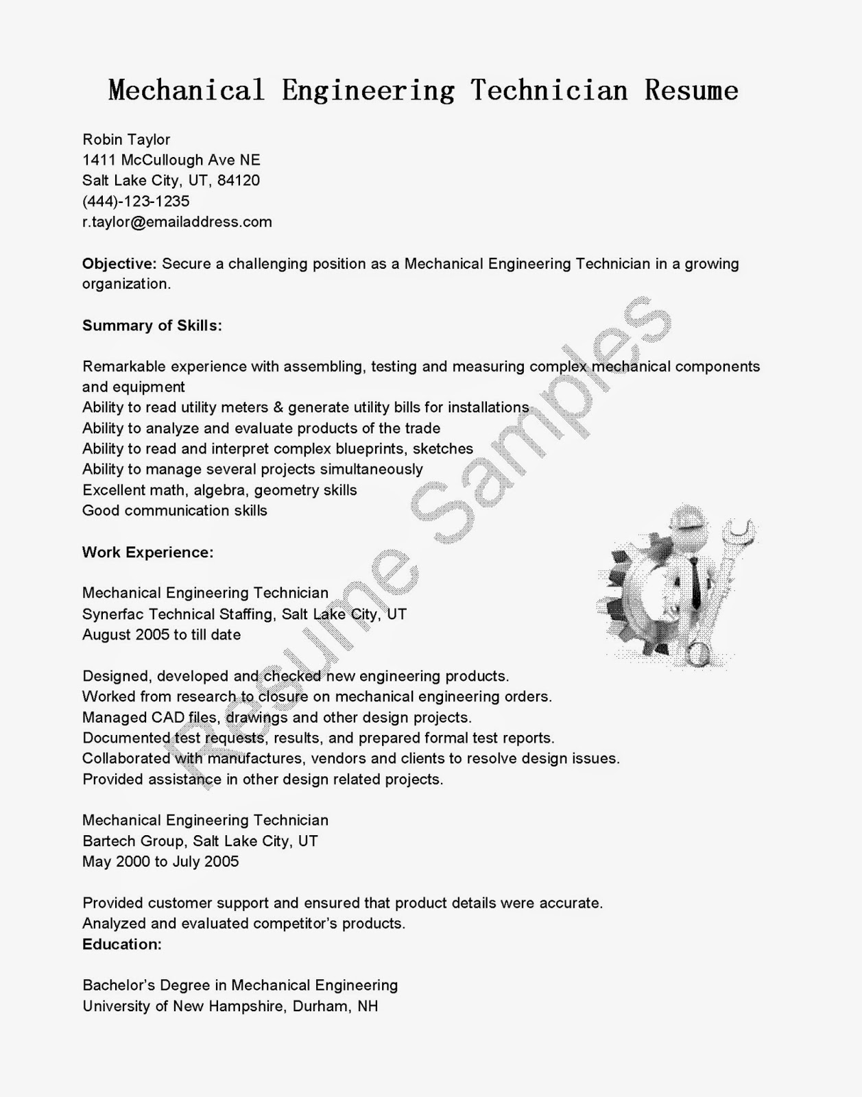 sample resume for mechanical technician unforgettable maintenance - Geotechnical Engineer Sample Resume