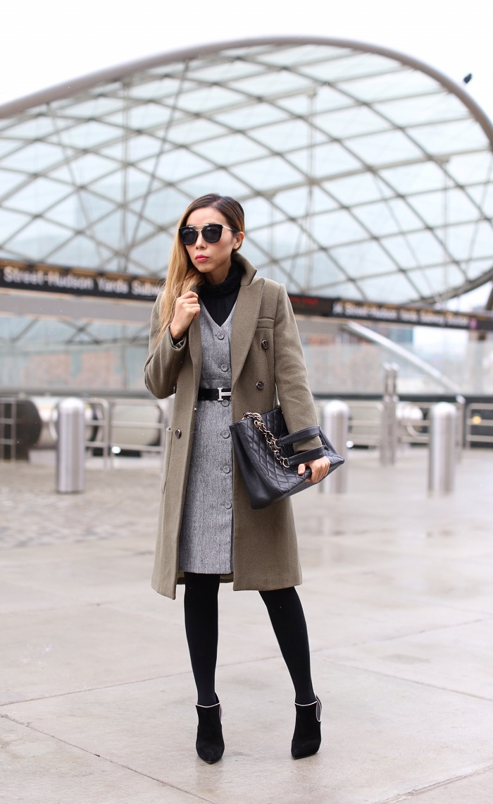 Olive coat, grey belted dress, work attire, casadei ankle booties, prada sunglasses, chanel grand shopping tote, nyc street style, how to dress from work to play