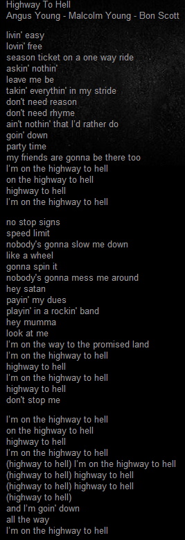 HIGHWAY TO HELL letra acdc