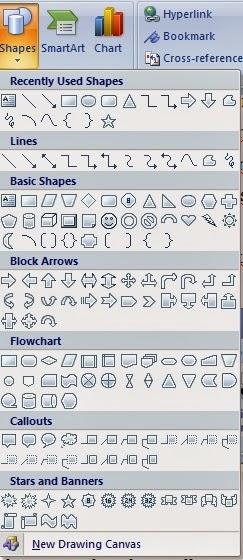 tampilan isi insert shapes