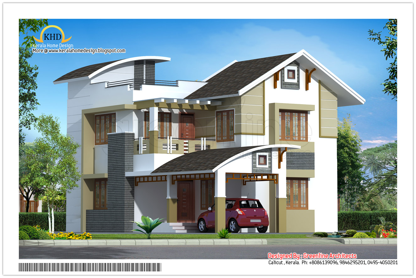 Modern contemporary elevation 2125 sq ft kerala home for Villa design plan india