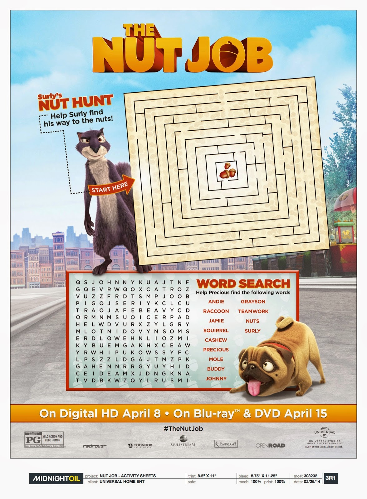 Click Images Below For A Printable Nut Job Coloring Sheet Maze