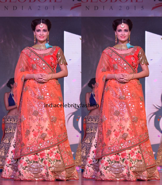 Dia Mirza in Bridal Lehenga at Globoil Awards