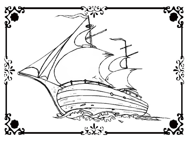 sailing ship coloring pages
