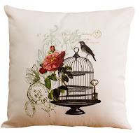 almofada gaiola e pássaro, almofada vintage, almofada romântica passaro
