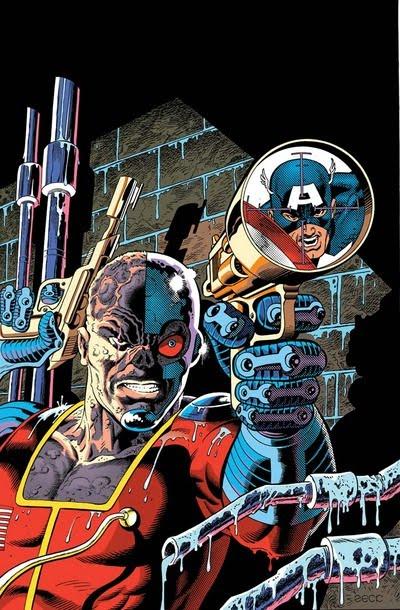 Dibujo de Deathlok y Capitán América por Mike Zeck