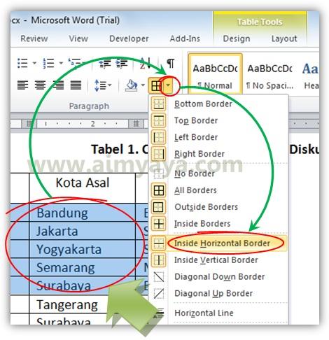 Gambar: Mengganti dan mengatur border tabel dengan cepat di microsoft word