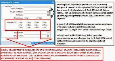 cara mengisi data guru / ptk di aplikasi dapodik 2013, tanggal/bulan keaktifan guru di dapodik