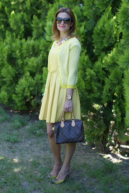 yellow bon ton dress, LV Speedy 25, Fashion and Cookies