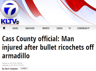 Man injured after bullet ricochets off armadillo