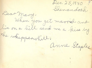 Anne Staples in autograph book belonging to Mary Davis Slade 1940-41