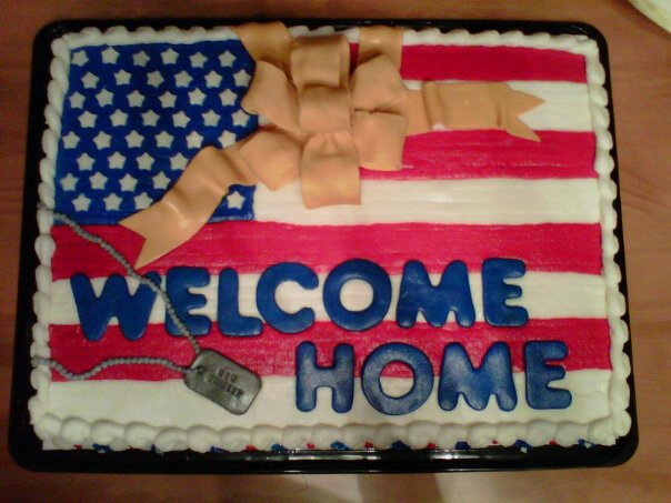 Welcome Home Military. Sheet Cake With Buttercrem Icing And Fondant  Decorations.