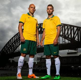 Le maillot de l'Australie de la Coupe du monde 2014