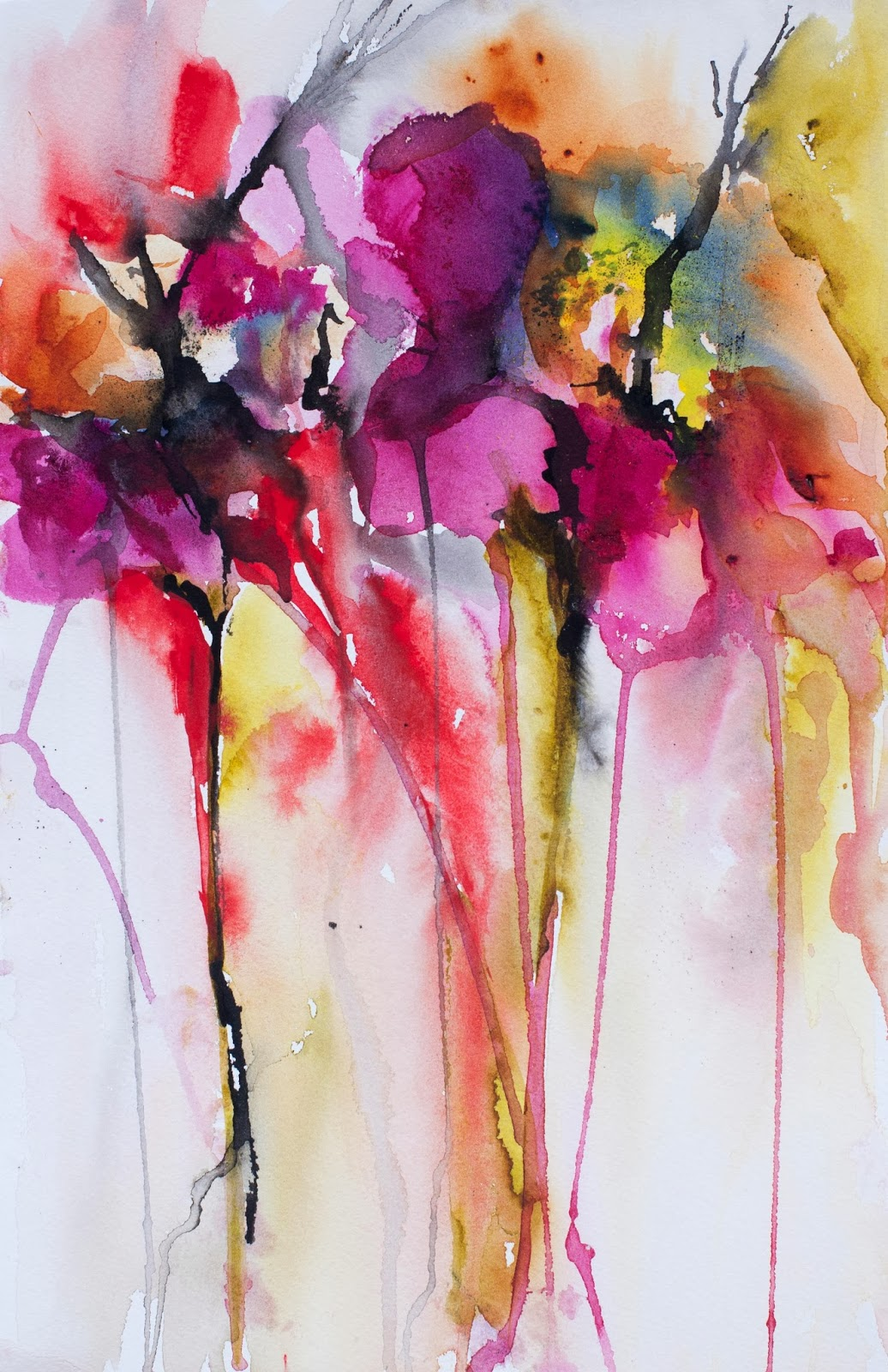 Karin johannesson contemporary watercolour flowers for Abstract watercolour flowers