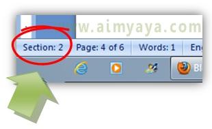 Gambar: Contoh tampilan nomor section di status bar