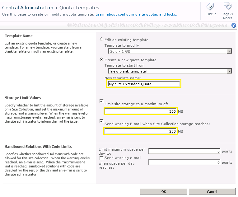 sharepoint 2010 create quota template