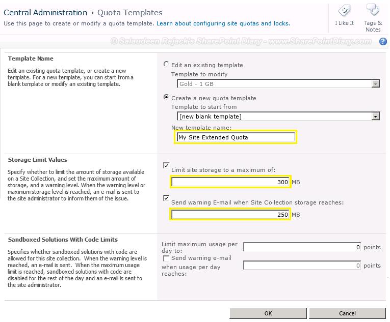 create sharepoint quota templates using powershell