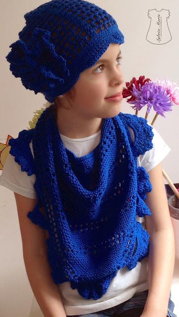 schal y gorro con flor hecho en crochet, schal und haube gehäkeln